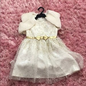 Toddler white and gold dress